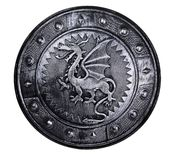 Round shield with dragon sign Stock Photos