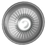 Round shield with sun image Stock Photography