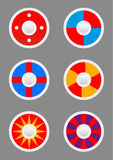 Round shields icons set Stock Photos