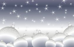 Round Shiny Silver Christmas Ornaments Background. A background illustration featuring a bunch of shiny silver Christmas ornaments and starry sky stock illustration