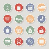 Round shopping icons. Vector illustration Stock Photos