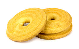 Round shortbread biscuit isolated on white. Royalty Free Stock Image