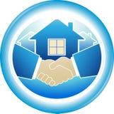 Round sign of business handshake