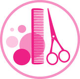 Round sign of hair salon. Round sign of hair beauty salon with scissors Royalty Free Stock Images
