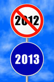 Round sign New Year. Round sign 2013 - New Year concept, sky on background Royalty Free Stock Photo