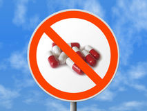Round sign No pills Stock Photography