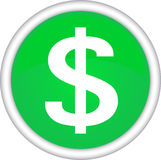 Round sign with a picture of the dollar. Stock Photo