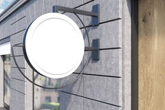Round sign post. On building wall with window and wooden door. Concept of local business. 3d rendering. Mock up Stock Photos