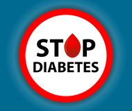 Round sign Stop Diabetes with a drop. Medical symbol. Vector Stock Photography