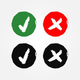 Round signs with a tick and a cross. The option button Yes and No. Grunge. Royalty Free Stock Photo