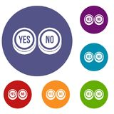 Round signs yes and no icons set Royalty Free Stock Photo