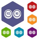 Round signs yes and no icons set Royalty Free Stock Photos