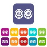 Round signs yes and no icons set Stock Photos