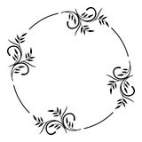 Round silhouette floral frame Stock Photography
