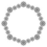 Round silhouette floral frame. Silhouette frame with floral elements Royalty Free Stock Image