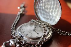 Round Silver-colored Pocket Watch royalty free stock images