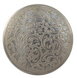 Round silver plate. Traditional asian decorations carved Royalty Free Stock Image