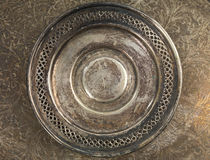 Round silver plate grungy background Stock Photo