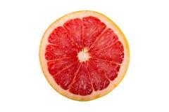 Round slice of fresh fruit. Grapefruit isolated on white background. Round slice of fresh fruit Stock Images