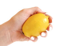Round slice of lemon in a female hand Stock Photography