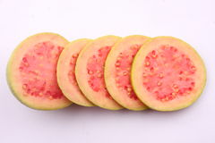 Round  Slices  of Pink Guava fruit . Royalty Free Stock Photography