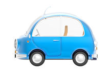 Round small car blue side. Round small blue car in retro style side view  on a white background. 3d illustration Royalty Free Stock Photos