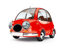 Round small car. In retro style isolated on a white background. 3d illustration Royalty Free Stock Images