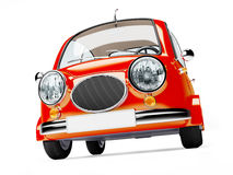 Round small car. In retro style isolated on a white background. 3d illustration Stock Image