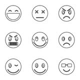 Round smileys icons set, outline style Stock Photo