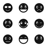 Round smileys icons set, simple style Stock Images