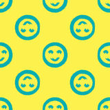 Round smileys. Seamless pattern drawn with rough strokes of the brush. Stock Photos