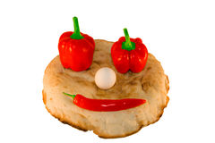 Round smiling bread with vegetables and egg Royalty Free Stock Photos