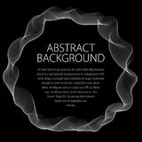 Round smooth linear frame of wavy lines. Vector abstract artisti. C beautiful background with copy space for text.  Isolated over black background Royalty Free Stock Photos
