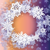 Round snow frame with place for text. Royalty Free Stock Photos