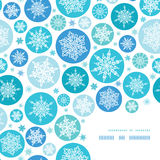 Round Snowflakes Corner Frame Pattern Background. Vector round snowflakes corner frame pattern background with drawn snowflakes on light blue background Royalty Free Stock Image