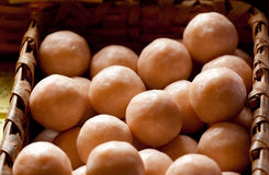 Round soap balls in basket Royalty Free Stock Photos