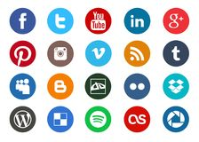Round social media icon collection stock illustration