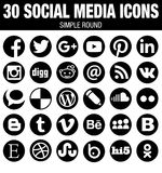 Round Social Media Icons Collection - Black Royalty Free Stock Image