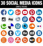 Round Social Media Icons Collection Flat Simple Modern Set Stock Images