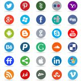 Round social media and web icons Stock Image