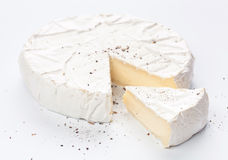 Round soft brie cheese Royalty Free Stock Photo