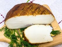 Round Soft Brown Smoked Homemade Cheese Royalty Free Stock Photo
