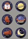 Round space icons Royalty Free Stock Photography