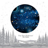 Round space with stars planets in space on white background. With grey constellation and forest Stock Photos