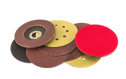 Round special grinder sand discs collection for wood polish Royalty Free Stock Photos