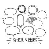 Round Speech Bubbles 2-01. Set of hand-drawn oval speech bubbles, black and white vector abstract illustration of rounded speech bubbles, EPS 8 stock illustration