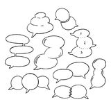 Round Speech Bubbles-01. Set of hand-drawn oval speech bubbles, black and white vector abstract illustration of rounded speech bubbles, EPS 8 royalty free illustration