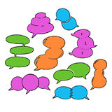 Round Speech Bubbles-05. Set of hand-drawn oval speech bubbles, vector abstract illustration of rounded speech bubbles, EPS 8 royalty free illustration
