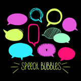 Round Speech Bubbles 2-06. Set of hand-drawn oval speech bubbles, vector abstract illustration of rounded speech bubbles, EPS 8 vector illustration