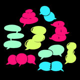 Round Speech Bubbles-06. Set of hand-drawn oval speech bubbles, vector abstract illustration of rounded speech bubbles, EPS 8 royalty free illustration